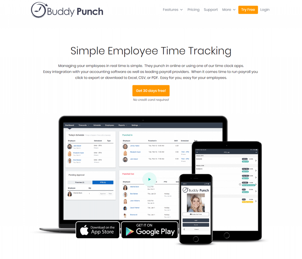 Buddypunch Employee tracking and scheduling software